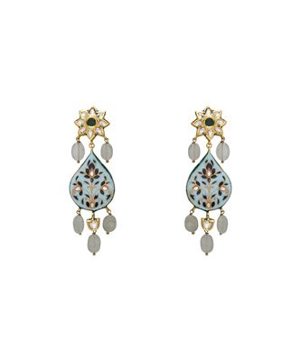 Statement Earring With Blue Enemaling
