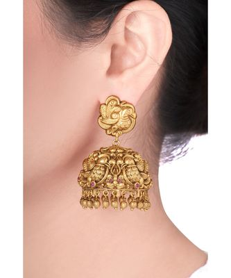 Traditional Antique Gold Polish Temple Earring