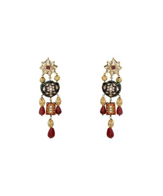 Statement Earring With Black Enemalling & Red Beads