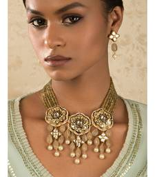 Floral Enamelled Green And Ocre Kundan Necklace And Earring Set