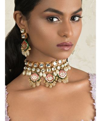 Pristine Enamelled Red And Off White Kundan Necklace And Earring Set