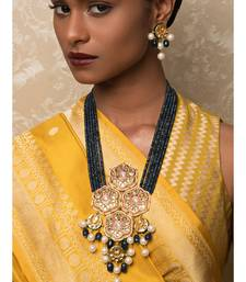 Regal Raga Enamelled Blue Kundan And  Pearls Necklace And Earrings Set
