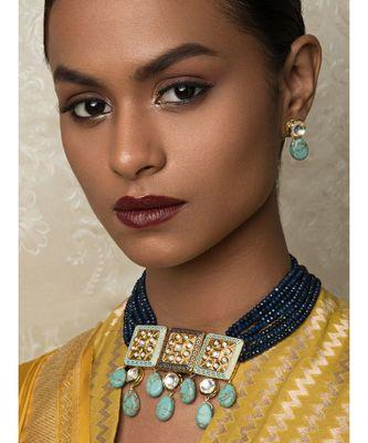 Turquoise Titan Blue Enamelled Kundan Necklace And Earrings Set.