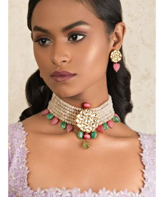 Femme Fantasy Pink And Green Kundan Necklace And Earrings Set.