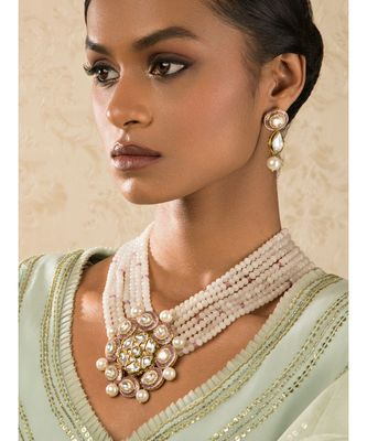 Zenia Pink Enamelled Kundan And  Pearls Necklace And Earrings Set.