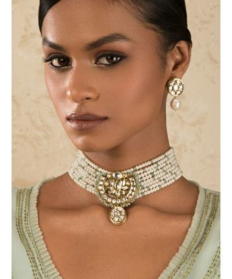 Pearl Relish Green Kundan And  Pearls Necklace And Earrings Set