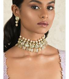 Diva Enamelled Sea Green Kundan And  Pearls Necklace And Earrings Set.