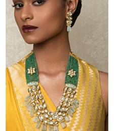 Royal Splendour Green Kundan, Agate Beads,  Drops, Agate Drops Necklace And Earrings Set.