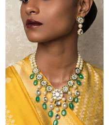 Evergreen Elegance Enamelled Off White Kundan , Quartz Beads,  Pearls Necklace And Earrings Set