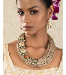 Jubilistic Beige Jute Thread,  Pearls And Lakh Pieces Necklace And Earrings Set.