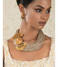 Divine Decadence Beige And Gold Jute Thread, Gold Pendant Necklace And Earrings Set