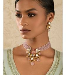 Radiante Red And Pink Kundan, Hydro Ruby Stones, Agate Beads, Rose Quartz And Pearls Necklace And Earrings Set