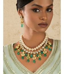 Ethnic Peak Green Enamelled Kundan, Jade Drops And  Pearls Necklace Set.