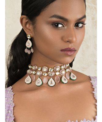Elemental Pink Enamelled Kundan, Jades And Rose Quartz Drops Necklace And Earrings Set.