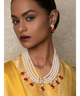Scarlet Surprise Red  Kundan,  Pearls, Hydro Onyx Necklace And Earrings Set.