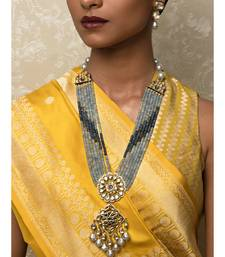 Ageless Agate Blue Ennamelled Kundan,   Pearls Necklace And Earrings Set.