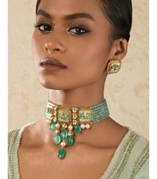 Enigma Green Enamelled Kundan Necklace And Earrings Set