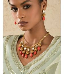 Beaded Bauble Orange Kundan, Coral Beads Necklace And Earrings Set.