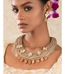 Captivating Carnelian Orange Jute, Pearls,  Kundan Necklace And Earrings Set