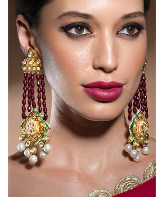 Timeless Kundan Polki Earrings In Hydro Ruby Beads Paired With Baroque Pearls