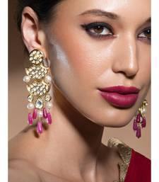 Golden Kundan Polki Earrings With Shell Pearls And Jade Drops