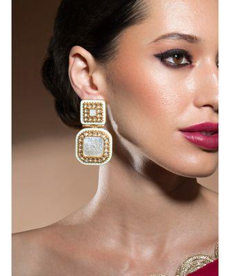 Exquisite Kundan Polki Gold Enamelled White Pearl Earrings