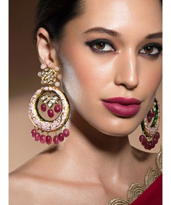 Magnificent Kundan Polki Gold Enamelled Earrings With Hydro Ruby Drops
