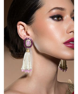 Lush Shell Pearl Earrings With Rose Quartz, Hydro Rubies And Delicate Swarovski Stones