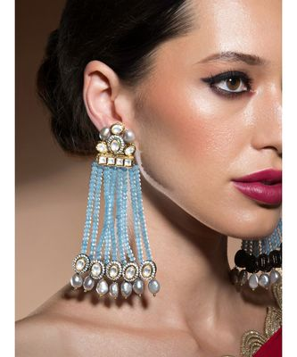 Contemporary Kundan Polki Earrings Studded With Fresh Water Pearls And Crystal Blue Agate Beads