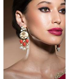 Stunning Gold Enamelled Kundan Polki Earrings In Red Corals And White Baroque Pearls