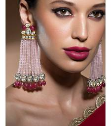 Lush Kundan Polki And Onyx Drop Earrings With Beautiful Soft Pink Agate Bead Danglers