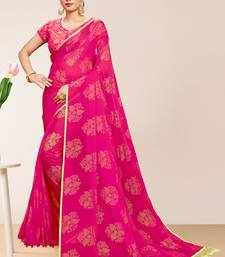 Divaastha Pink Georgette Chiffon Blend Floral Saree with Blouse Piece ( CCSDOLLYFLOWERPINK. )