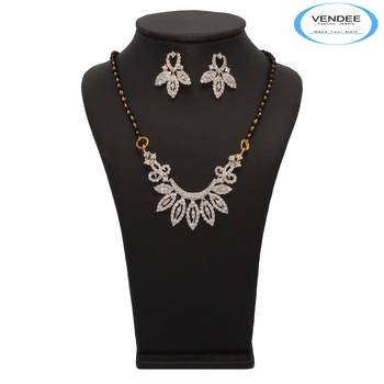 Vendee Fashion Admirable CZ Diamond Mangalsutra Pendant Set (7229)