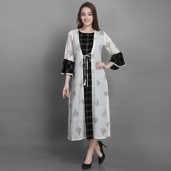 Women's Black Ethnic Jacket and Kurta Set