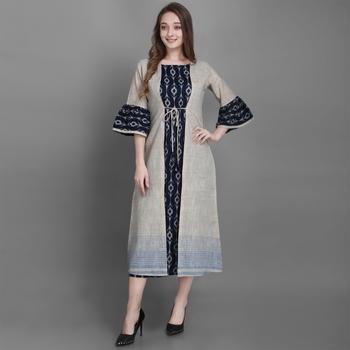 Women's Navy Blue Ethnic Jacket and Kurta Set