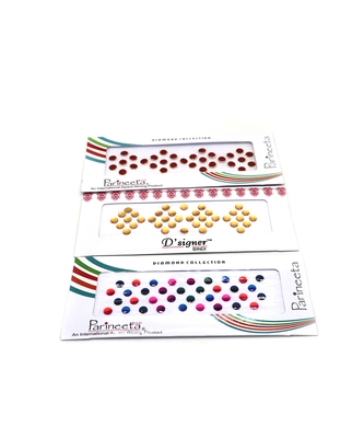 Multicolor Stone And Velvet Sticker Bindi Tikka Kumkum for Women (Pack of 3)