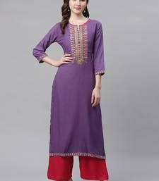 Women's Purple Rayon Embroidered Straight Kurta