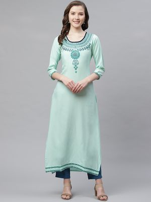 Women's Sea Green Rayon Embroidered Straight Kurta