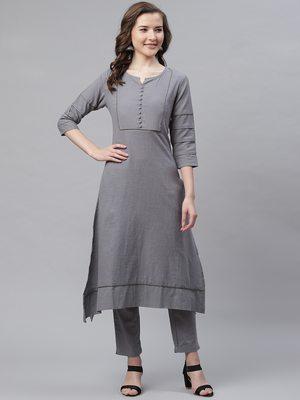 Women's Grey  Cotton Blend Solid Assymetrical Kurta Pant Set