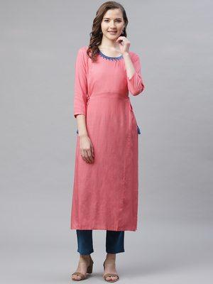 Women's Peach & Blue  Rayon Embroidered Straight Kurta Pant Set