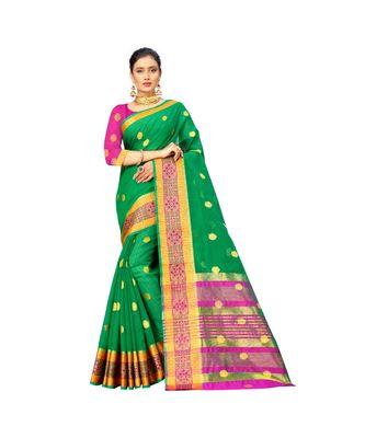 green Lichi Silk Banarasi Jacquard Designer Saree For Women