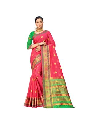peach Lichi Silk Banarasi Jacquard Designer Saree For Women