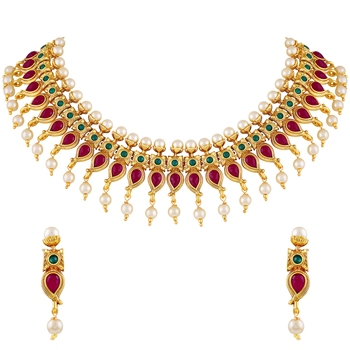 Kundan & Pearl Studded Choker with One Gram Gold Long Necklace Jewellery Set Combo for women and Girls