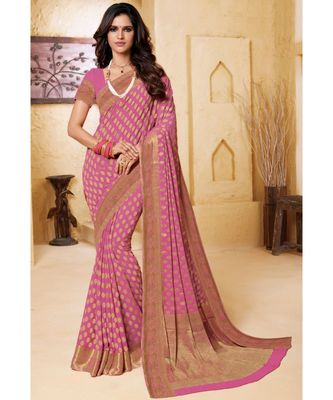 Purple embroidered Chiffon saree with blouse