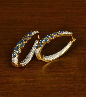 Sapphire and American Diamond Embellished Designer Hoops 216ED337