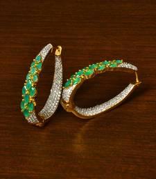 Emerald and American Diamond Embellished Designer Hoops 216ED338
