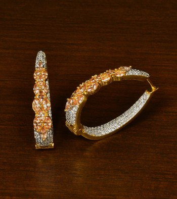 Champagne and American Diamond Embellished Designer Hoops 216ED339