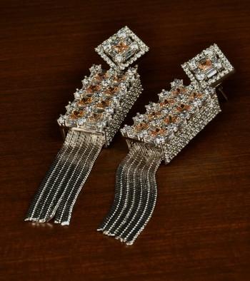 Champagne Stone Embellished Rhodium Plated Designer American Diamond Earrings 216ED342