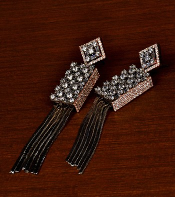 Black and Rose Gold Plated American Diamond Embellished Designer Earrings 216ED343