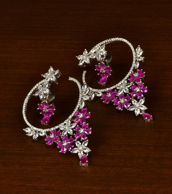 Ruby Embellished Rhodium Plated American Diamond Hoop Style Earrings 216ED345
